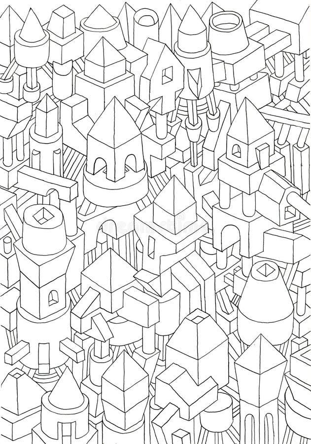 Dessin des formes géométriques sur un papier illustration libre de droits