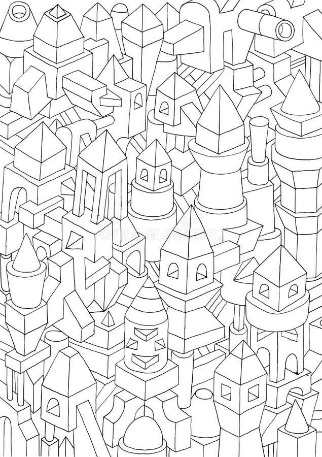 Dessin des formes géométriques sur un papier, illustration illustration libre de droits