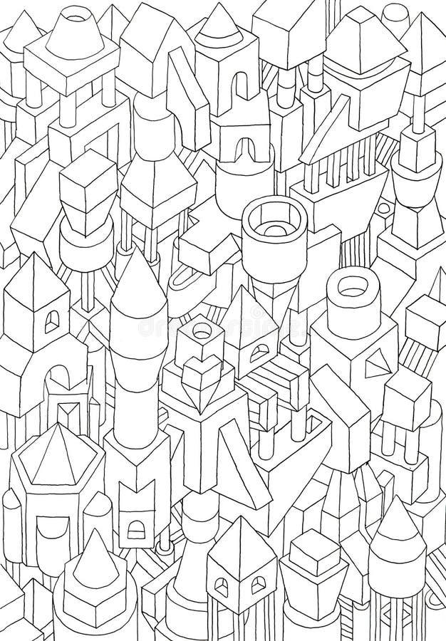Dessin des formes géométriques sur une illustration de papier illustration de vecteur