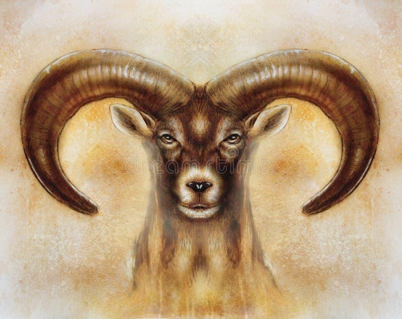 Dessin des moutons sauvages masculins avec les klaxons puissants sur le fond trouble abstrait photo stock