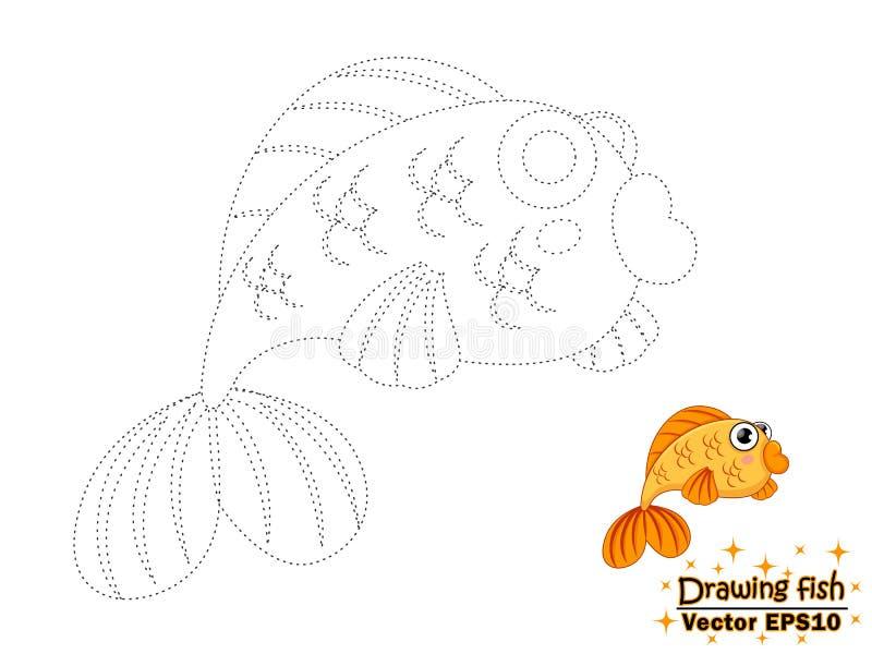 Dessin des poissons et de la couleur mignons de bande dessinée Jeu éducatif pour le ki illustration libre de droits