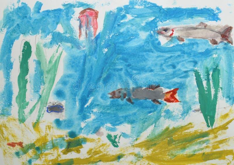 Dessin du ` s d'enfants : monde sous-marin, poisson, algue Peinture d'aquarelle Concept d'océan illustration stock