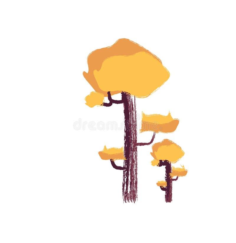 Dessin du vecteur ou de l'illustration de couleur des arbres jaunes illustration stock