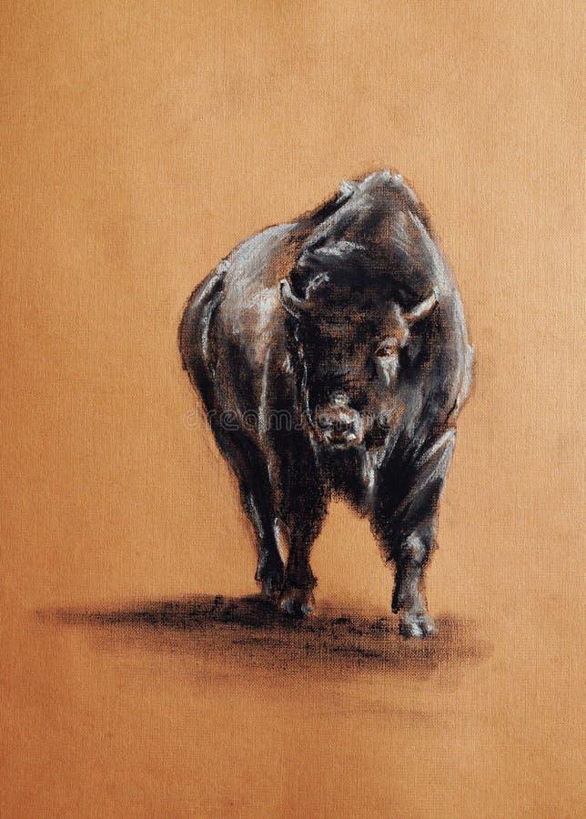 Dessin en pastel de bison illustration libre de droits