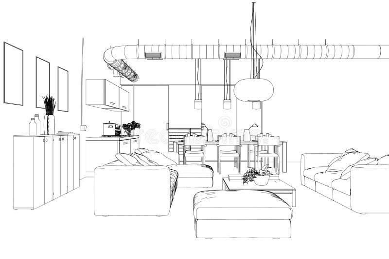 Dessin fait sur commande de salon de conception intérieure illustration stock