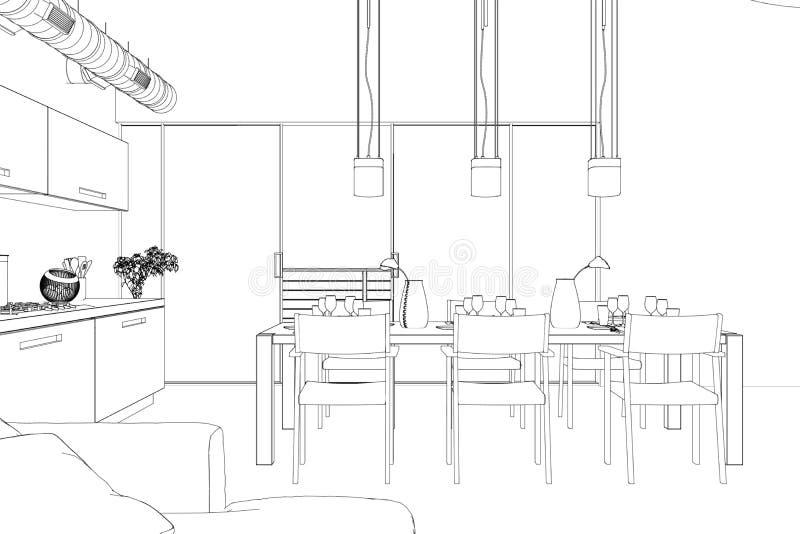 Dessin fait sur commande de salon de conception intérieure illustration de vecteur