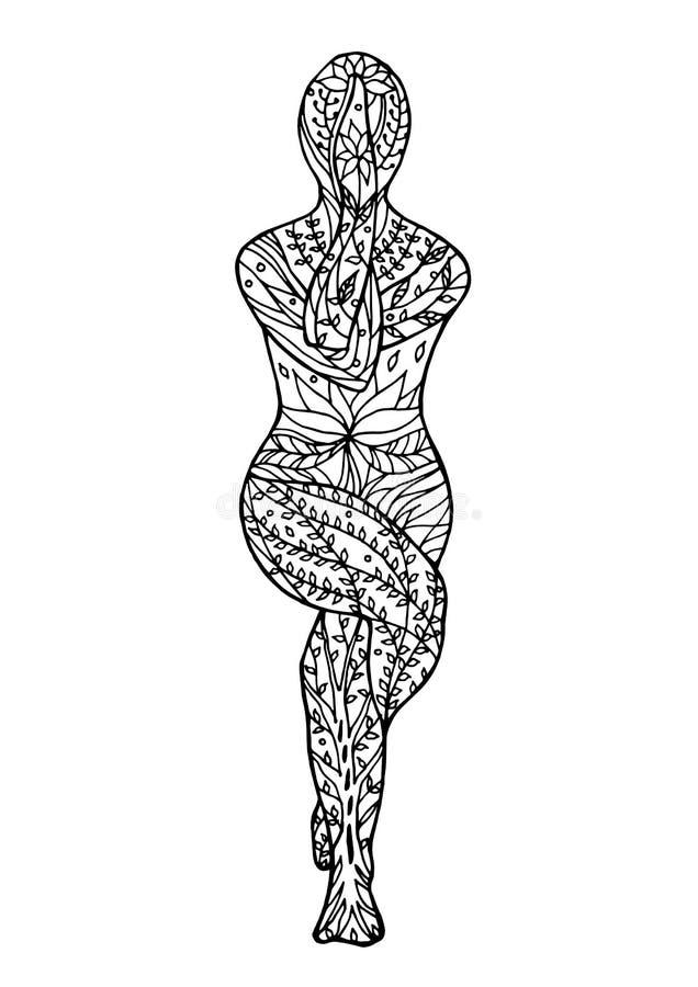 Dessin floral de fleur de vecteur de chakra du yoga 7 de pose d'Eagle tiré par la main illustration stock