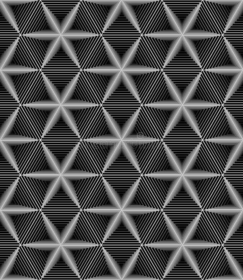 Dessin géométrique monochrome sans couture des étoiles six-aiguës sur a illustration de vecteur