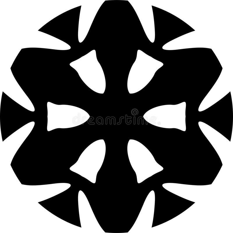 Dessin géométrique roue de vecteur de mandala noir et blanc d'abrégé sur illustration de vecteur
