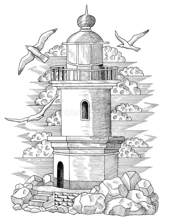 Dessin graphique du phare 3 illustration stock - Dessin de phare ...