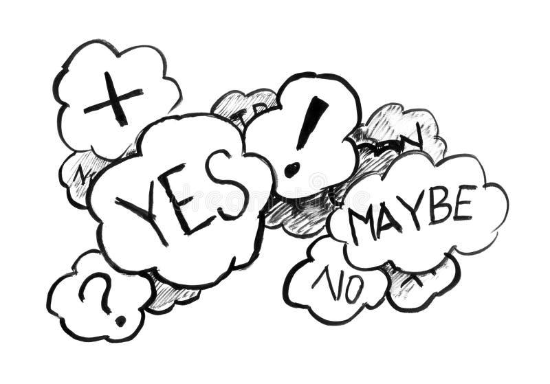 Dessin grunge à l'encre noire de main des bulles de la parole de l'incertitude et de la décision illustration de vecteur