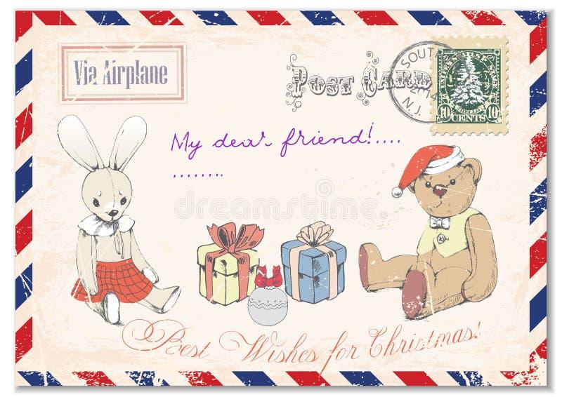 Dessin grunge de main de carte postale de vintage de nounours d'ours de nounours et de lapin sur des cartes postales, Joyeux Noël illustration libre de droits