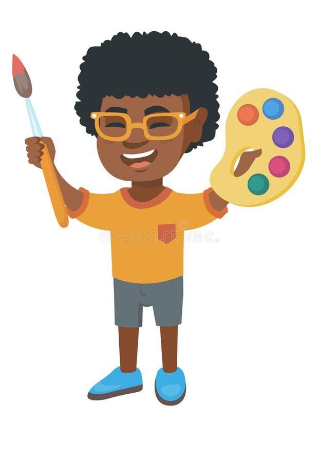 Dessin heureux de garçon avec les peintures et la brosse colorées illustration libre de droits