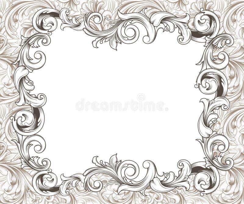 Dessin horizontal baroque d 39 encre de cadre illustration stock image 47068313 - Cadre photo dessin ...