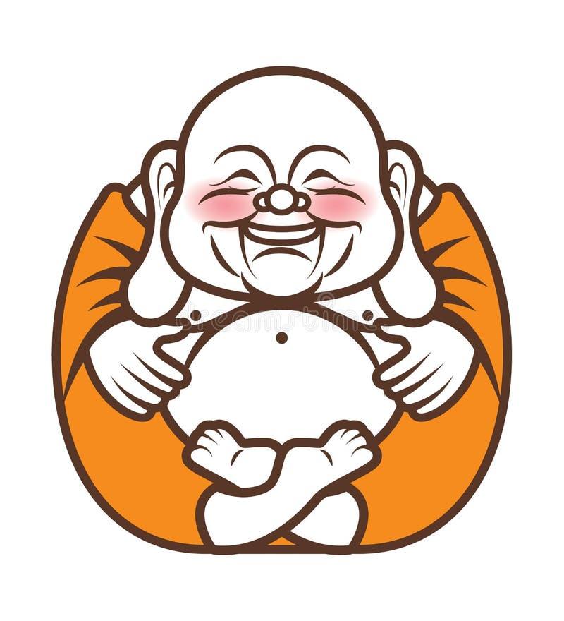 Dessin humoristique de personnage de Bouddha joyeux et riant Illustration de dessin animé vectoriel Religion illustration de vecteur