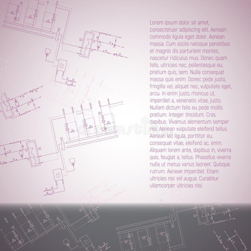 Dessin industriel de chaudière pour l'installation Illustration de vecteur de chauffe-eau illustration libre de droits