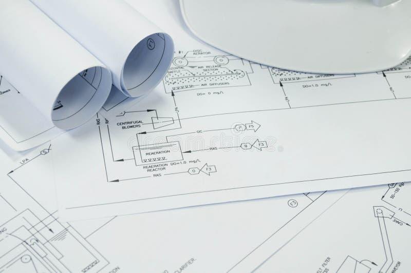 Dessin industriel pour le processus environnemental d'ingénierie photographie stock libre de droits