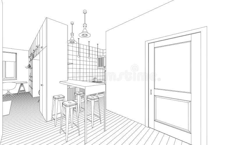 Dessin intérieur illustration de vecteur