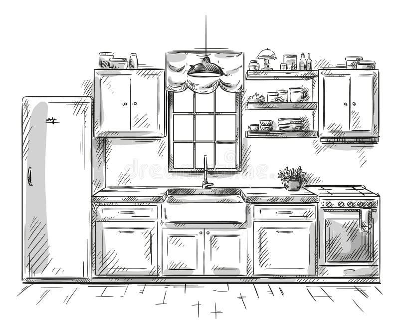 Dessin intérieur de cuisine, illustration de vecteur illustration de vecteur