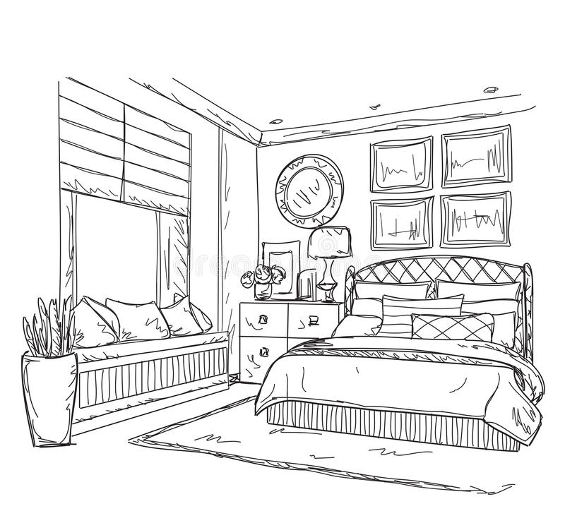 dessin int rieur moderne de chambre coucher illustration de vecteur illustration du ligne. Black Bedroom Furniture Sets. Home Design Ideas