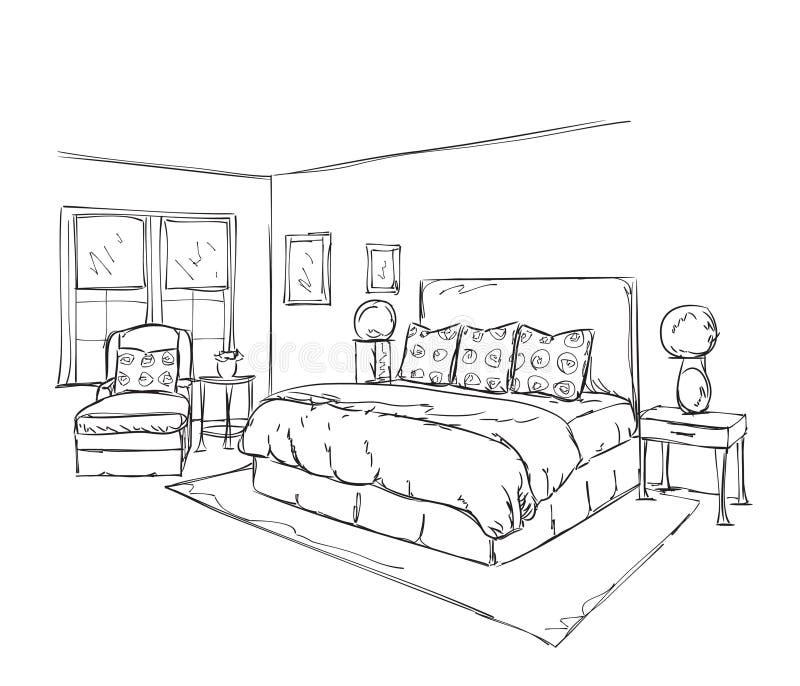 Meuble Chambre Dessin : Dessin intérieur moderne de chambre à coucher illustration