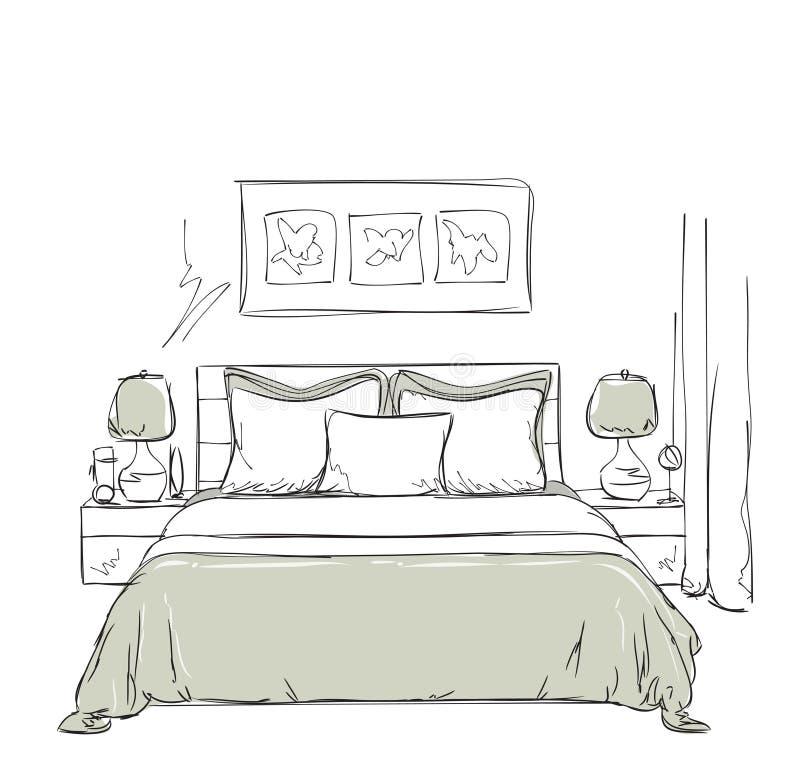 dessin int rieur moderne de chambre coucher illustration de vecteur illustration du retrait. Black Bedroom Furniture Sets. Home Design Ideas