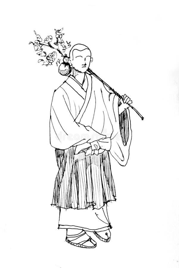 dessin japonais de moine photo stock image du costume 31472310. Black Bedroom Furniture Sets. Home Design Ideas