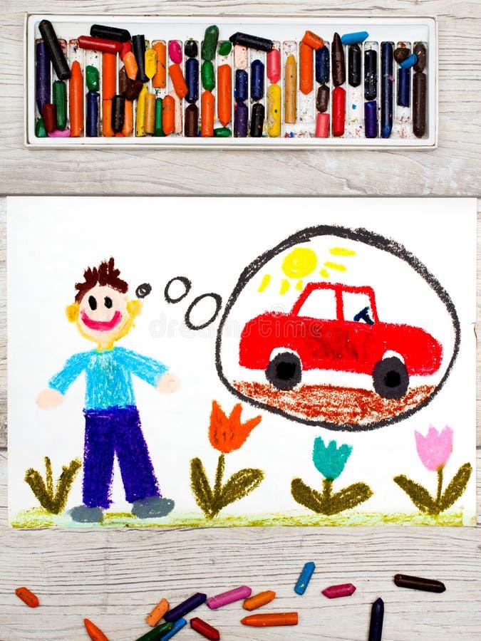 Dessin : jeune homme rêvant de la nouvelle voiture rouge images libres de droits