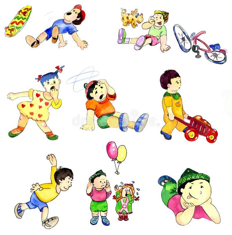 Dessin jouant des enfants dans différentes situations de jeu illustration libre de droits