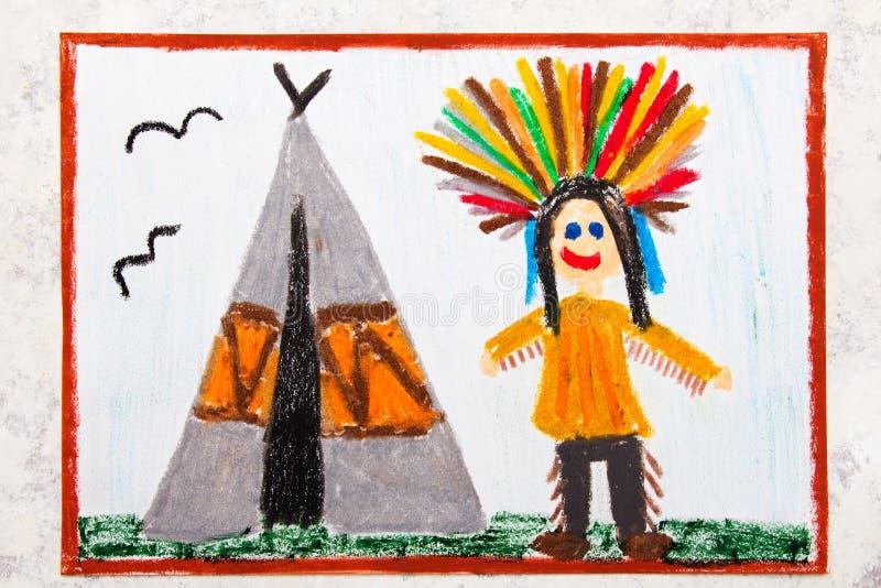 Dessin : L'Indien de sourire dans une coiffe se tient à côté d'un tipi illustration stock