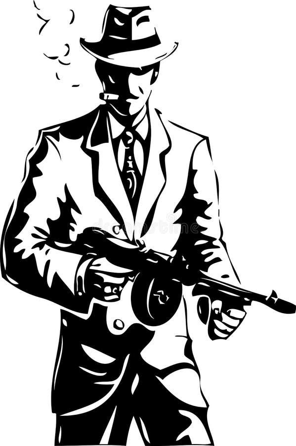 Dessin - le bandit - d'une Mafia illustration stock