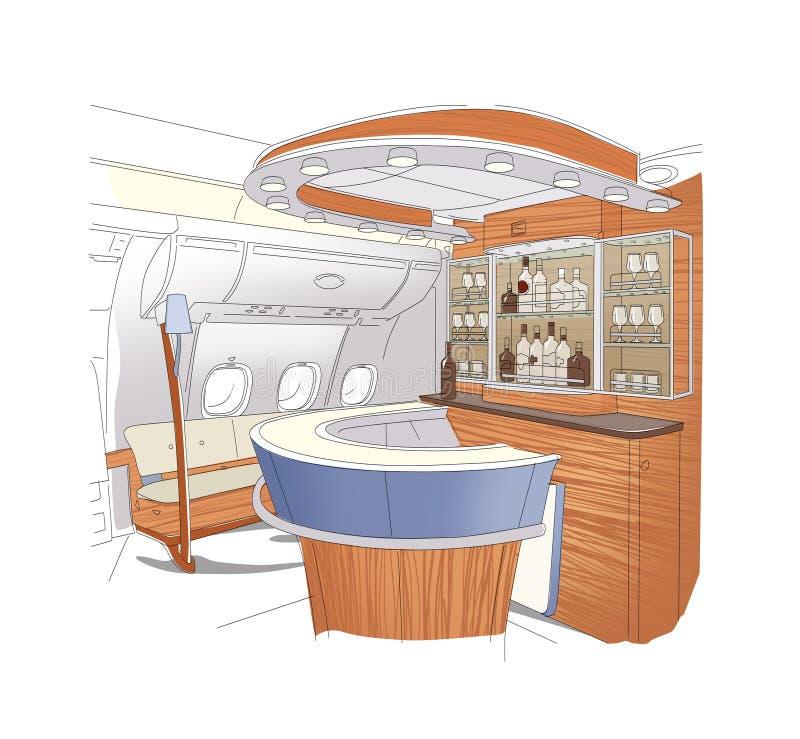 Dessin lin?aire de l'int?rieur de barre des avions de classe affaires de barre D'isolement sur le fond blanc illustration stock