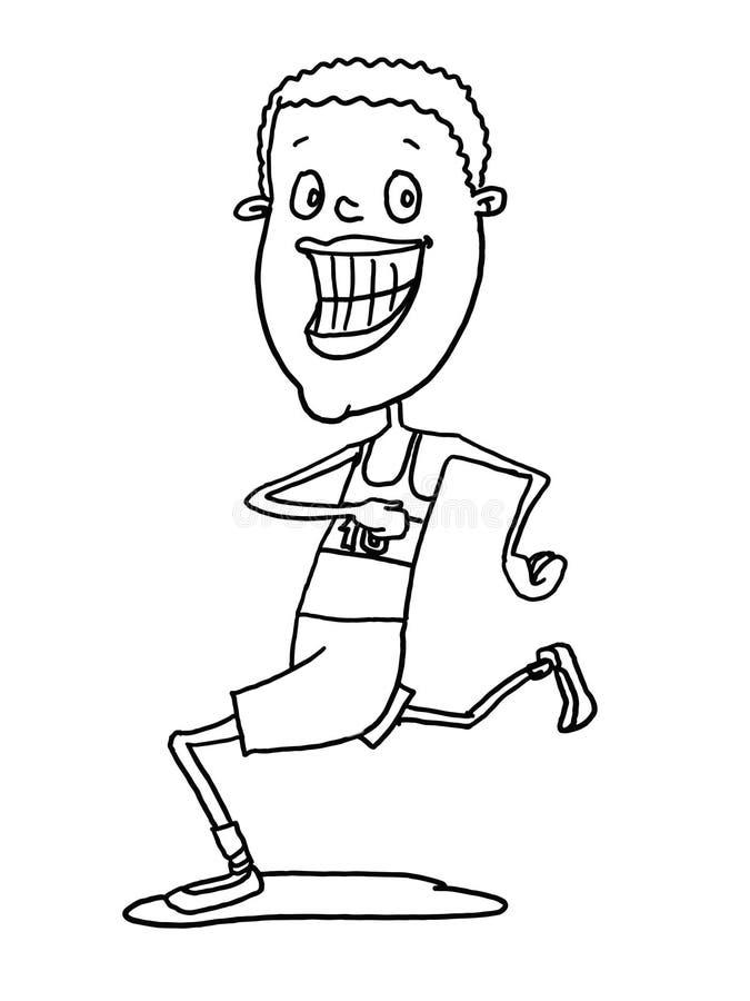 Dessin masculin et blanc de bande dessinée d'illustration d'athlète illustration de vecteur