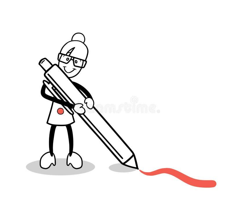 Dessin mignon de bande dessinée avec le stylo rouge illustration de vecteur