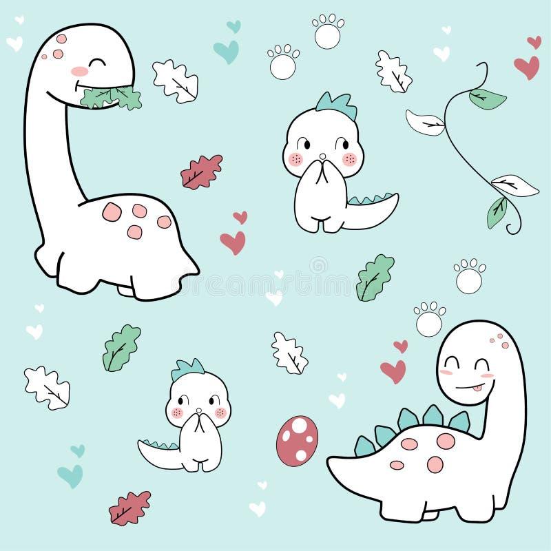 Dessin mignon de main de bandes dessinées de Dino illustration stock