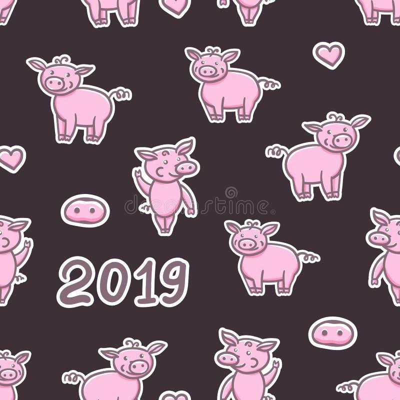 Dessin mignon de main de crayon de griffonnage de porcs Bonne année sans couture de modèle Signe chinois 2019 d'année Illustratio illustration stock