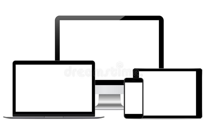 Dessin moderne de vecteur de dispositif de technologie sur le blanc illustration libre de droits