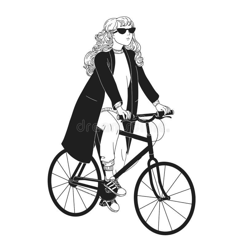Dessin monochrome de jolie bicyclette d'équitation de jeune femme Fille habillée dans l'habillement à la mode se reposant sur le  illustration stock