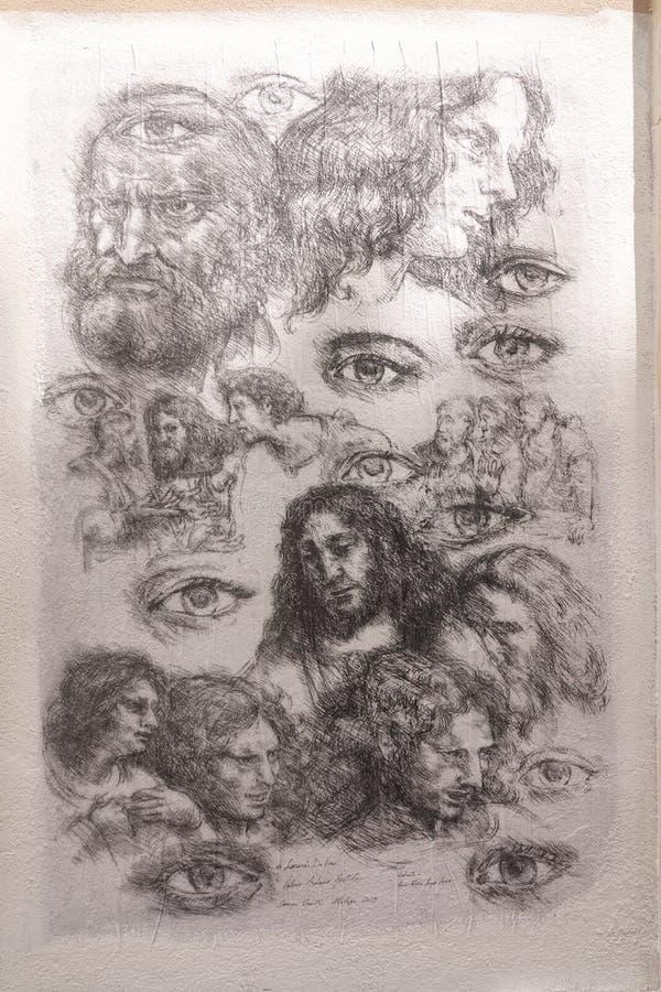 Dessin mural de Leonardo da Vinci à Malaga, Andalousie photos libres de droits