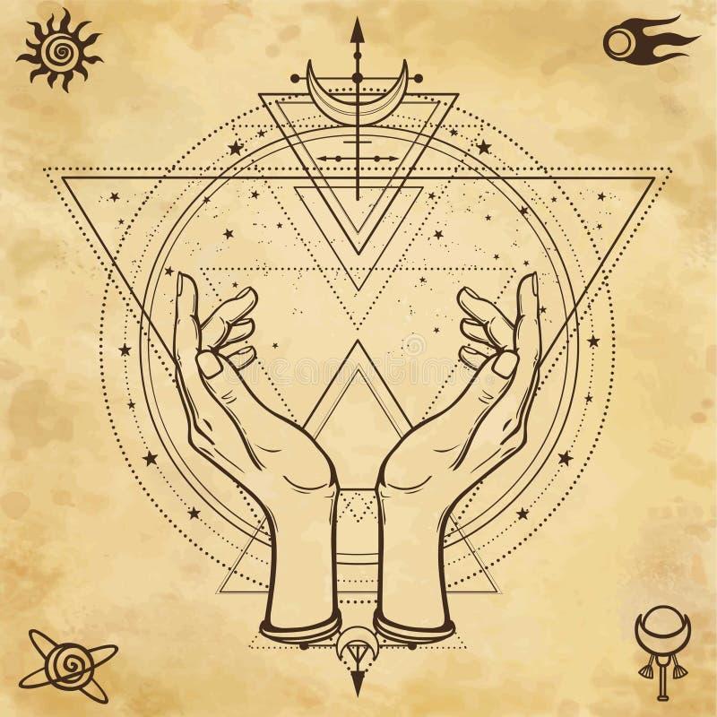 Dessin mystérieux : les mains humaines tiennent un cercle magique, la géométrie sacrée Symboles de l'espace illustration libre de droits