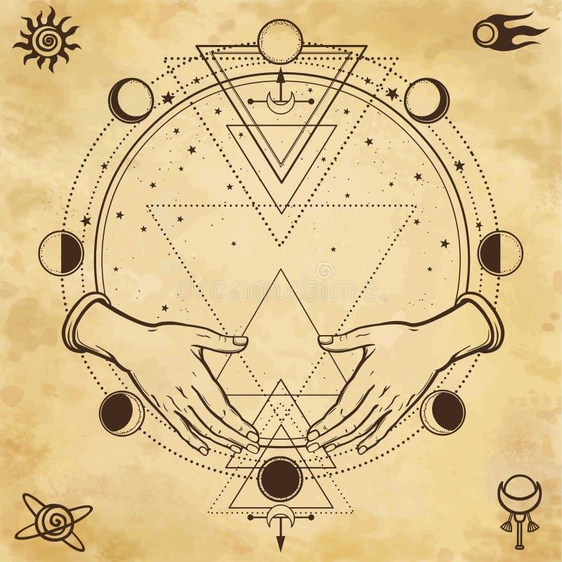 Dessin mystérieux : les mains humaines tiennent un cercle magique, la géométrie sacrée Symboles de l'espace illustration stock
