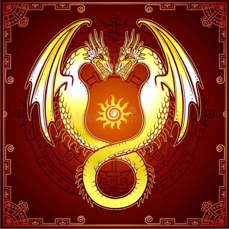 Dessin mystique : dragon de double or, Uroboros, un serpent avec deux têtes illustration stock