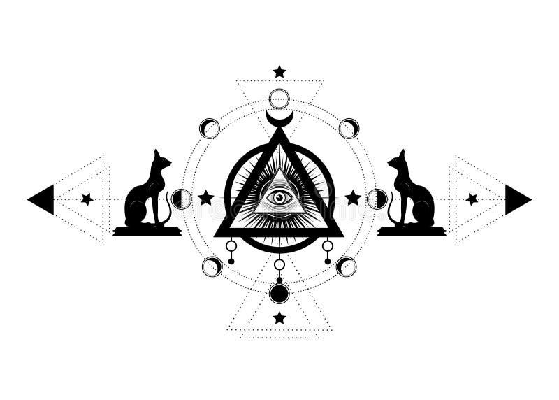 Dessin mystique : le troisi?me oeil, tout-voyant l'oeil, cercle d'une phase de lune La g?om?trie sacr?e et chats ?gyptiens Bastet illustration libre de droits