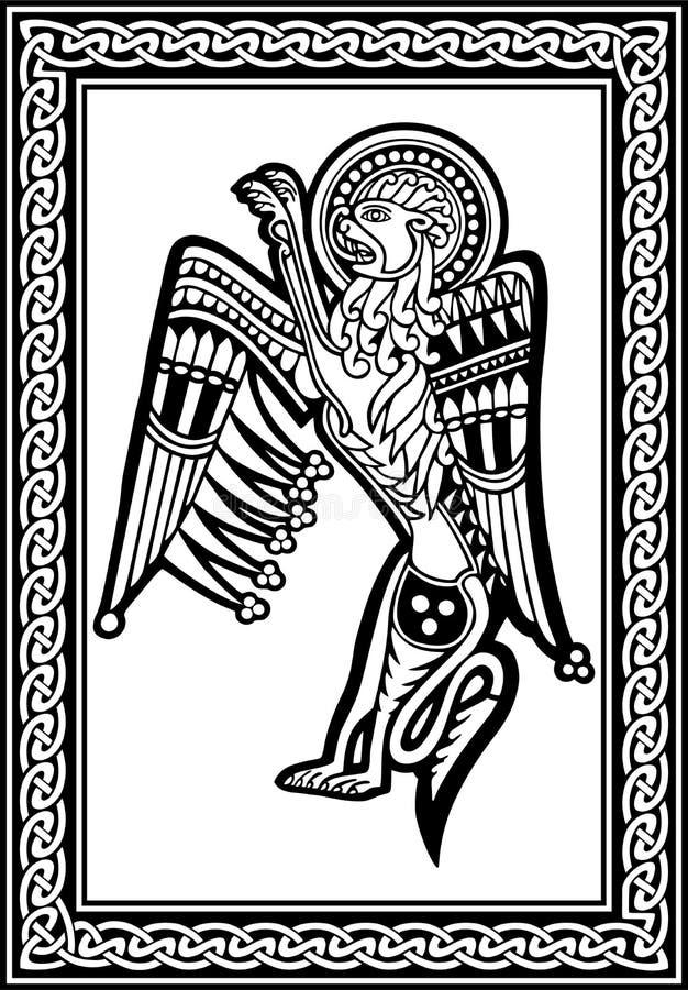 Dessin national zoologique celtique Lion animal avec l'ornement Image de vecteur illustration de vecteur