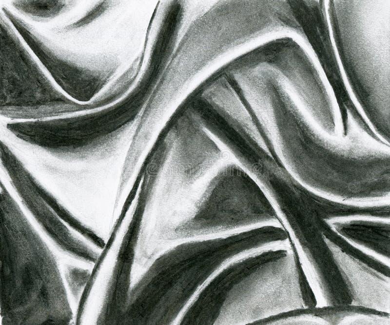 Dessin noir de charbon de draperie illustration libre de droits
