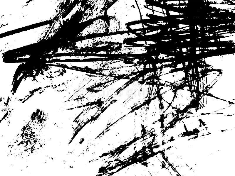 Dessin noir et blanc abstrait simple Dessin expressif Texture monochrome des courses de brosse illustration de vecteur