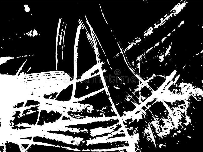 Dessin noir et blanc abstrait simple Dessin expressif Texture monochrome des courses de brosse illustration libre de droits