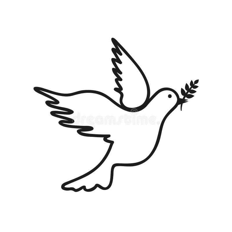 Dessin noir et blanc de colombe illustration libre de droits