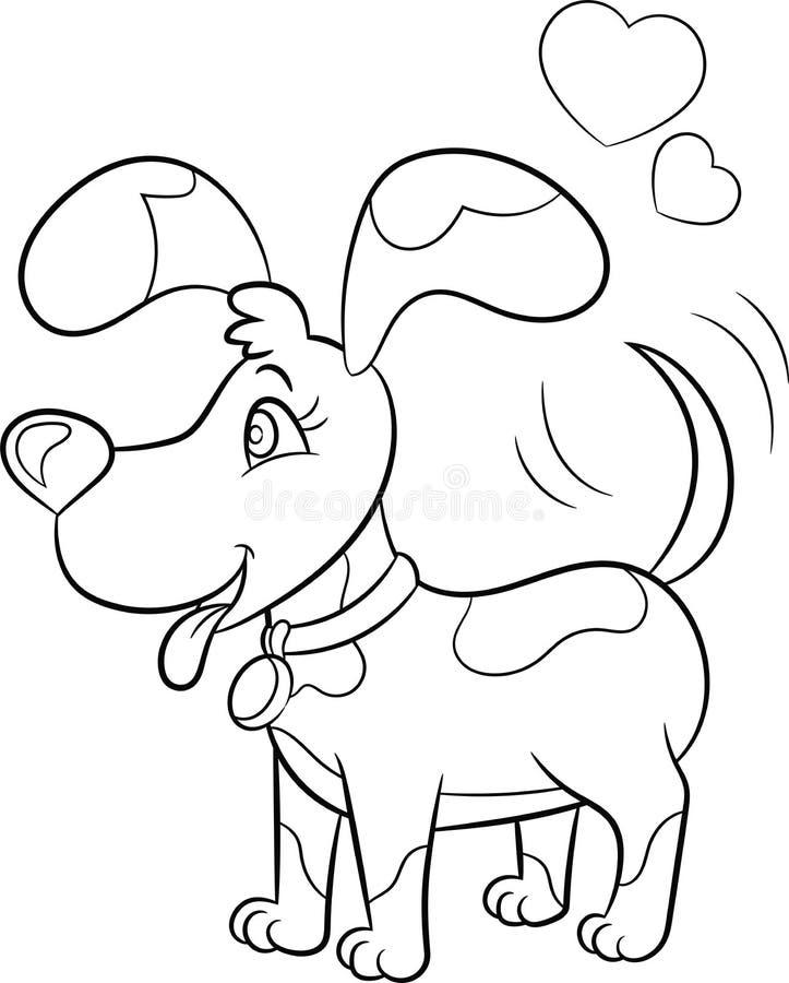 Dessin noir et blanc de kawaii d'un petit chien, avec des coeurs au-dessus de sa tête, pour livre de coloriage des enfants ou la  illustration de vecteur