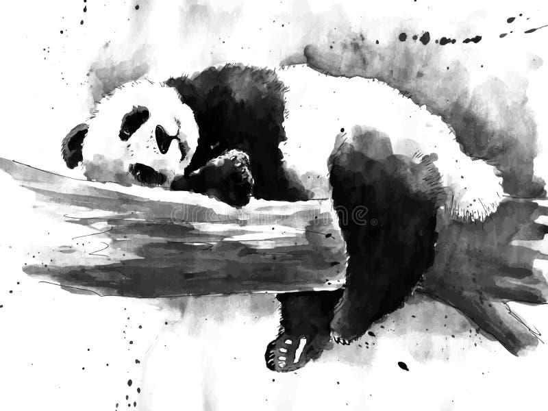 Dessin noir et blanc de panda d'aquarelle illustration libre de droits
